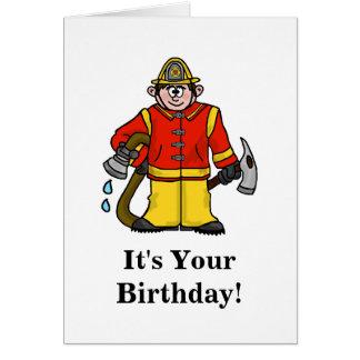 Funny Fireman Birthday Card   Customize It!