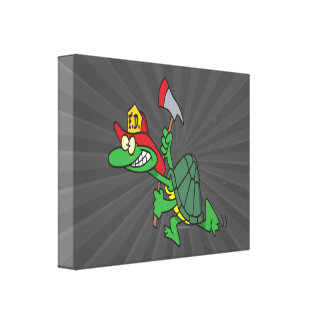 funny fireman firefighter turtle cartoon canvas prints