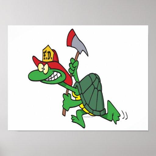 funny fireman firefighter turtle cartoon poster