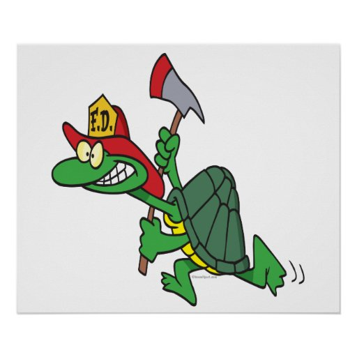 funny fireman firefighter turtle cartoon posters