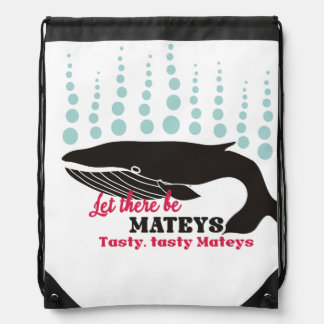 Funny fish boating killer whale tasty mateys drawstring bag