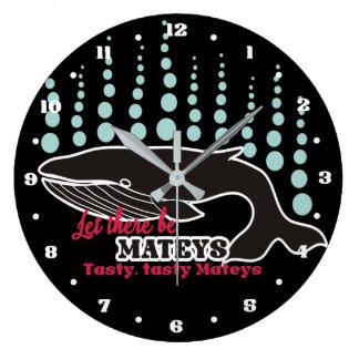 Funny fish boating killer whale tasty mateys large clock