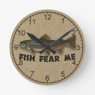 Funny Fisherman  Fish Fear Me Wall Clocks