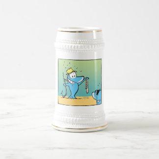 Funny Fishing Cartoon Beer Stein