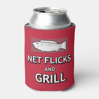 Funny Fishing Cast Net Fish Parody Joke Can Cooler