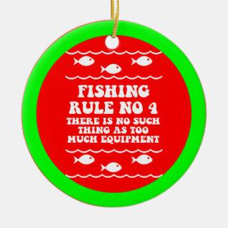 Funny fishing ceramic ornament