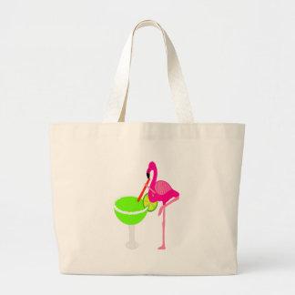Funny Flamingo Drinking a Margarita Large Tote Bag