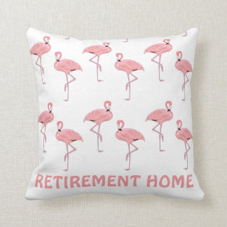 Funny Flamingo Retirement Home Throw Pillow