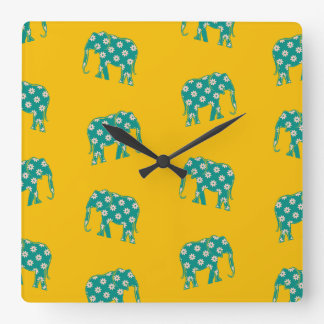 Funny Floral Elephant Pattern Yellow Bold Cheerful Square Wall Clock