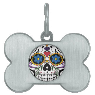 Funny Floral Skull Pet ID Tag