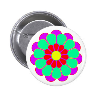 Funny Flower Power Bloom I 2 Inch Round Button