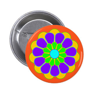 Funny Flower Power Bloom II + your backgr. & idea 2 Inch Round Button