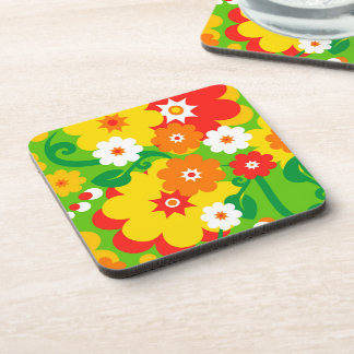 Funny Flower Power Wallpaper Drink Coasters