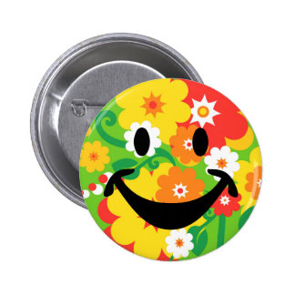 Funny Flower Power Wallpaper & smiley 2 Inch Round Button
