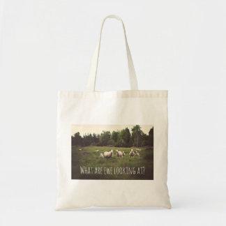 Funny Fluffy White Sheep & Lamb Field Rocks Trees Tote Bag