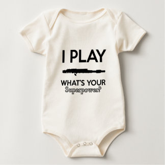 funny flutes design baby bodysuit