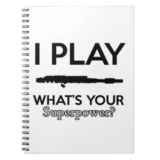 funny flutes design spiral notebook