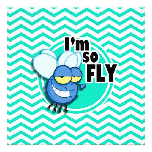 Funny Fly; Aqua Green Chevron Personalized Invitation