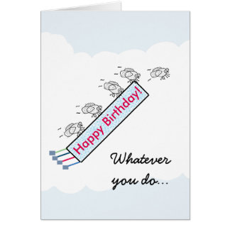 Funny Fly By Birthday Card