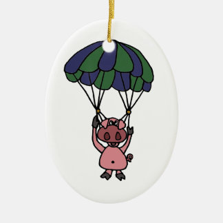 Funny Flying Pig Parachutist Christmas Ornament