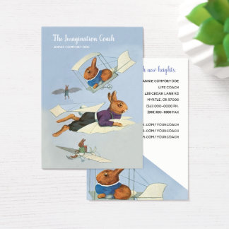 Funny Flying Rabbits Life Coach Business Card