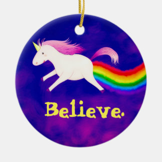 Funny Flying Unicorn Farting a Rainbow Ceramic Ornament