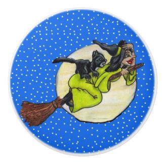Funny Flying Witch Black Cat Moon Stars Halloween Ceramic Knob