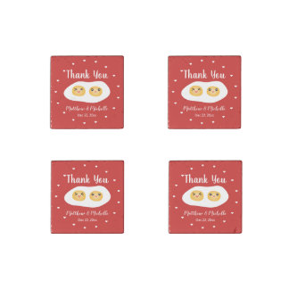 Funny Foodie Bride Groom Cute Wedding Party Favor Stone Magnets