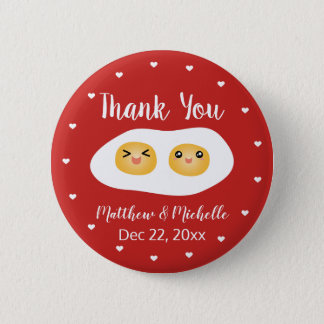 Funny Foodie Bride Groom Cute Wedding Thank You 2 Inch Round Button