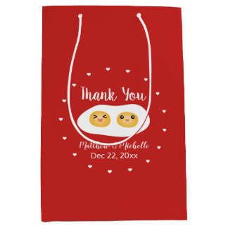 Funny Foodie Bride Groom Cute Wedding Thank You Medium Gift Bag