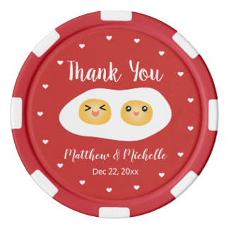 Funny Foodie Bride Groom Cute Wedding Thank You Poker Chips
