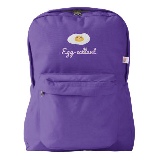 Funny Foodie Cute Egg Eggcellent Humorous Food Pun Backpack