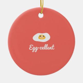 Funny Foodie Cute Egg Eggcellent Humorous Food Pun Ceramic Ornament