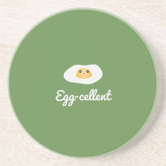 Funny Foodie Cute Egg Eggcellent Humorous Food Pun Coaster