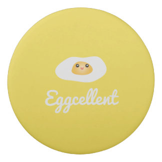 Funny Foodie Cute Egg Eggcellent Humorous Food Pun Eraser