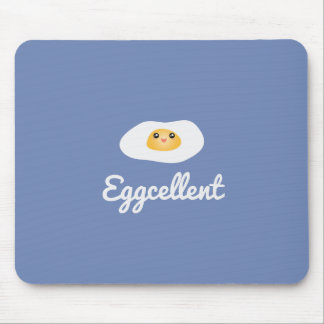 Funny Foodie Cute Egg Eggcellent Humorous Food Pun Mouse Pad