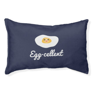 Funny Foodie Cute Egg Eggcellent Humorous Food Pun Pet Bed