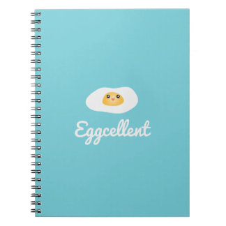Funny Foodie Cute Egg Eggcellent Humorous Food Pun Spiral Notebook