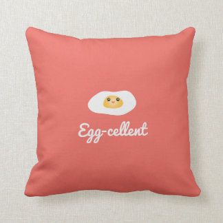 Funny Foodie Cute Egg Eggcellent Humorous Food Pun Throw Pillow