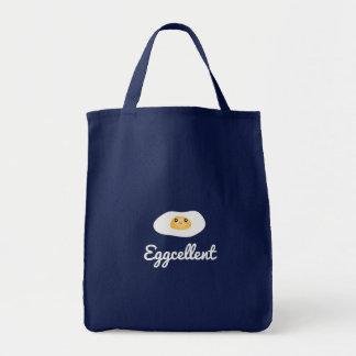 Funny Foodie Cute Egg Eggcellent Humorous Food Pun Tote Bag
