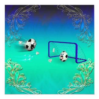 """Funny footballs 5.25"""" square invitation card"""