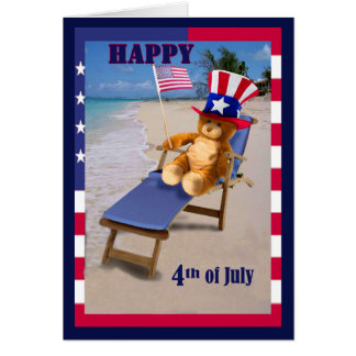 Funny Fourth of July card Patriotic Teddy Bear