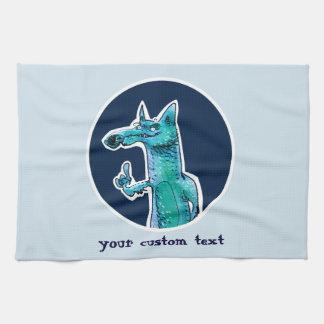 funny fox gives advice to us cartoon kitchen towel