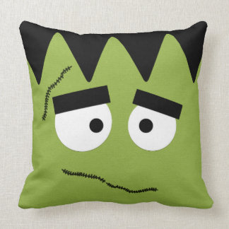 Funny Frankenstein Face for Halloween Throw Pillow