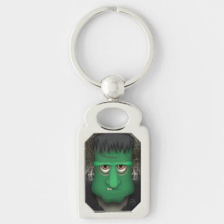 Funny Frankenstein Halloween Costume Silver-Colored Rectangle Keychain
