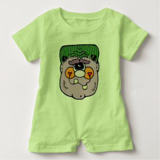 Funny Frankenstein Key Lime Green Baby Romper