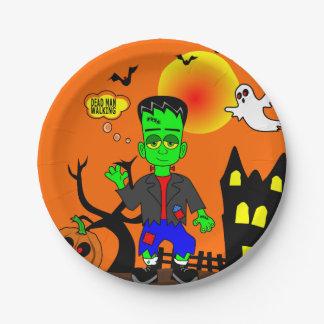Funny Frankenstein's Monster Image Paper Plate