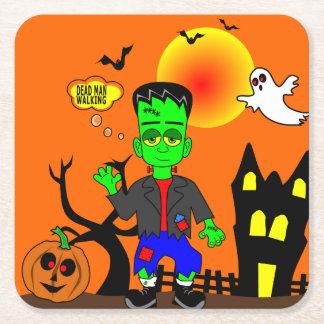 Funny Frankenstein's Monster Image Square Paper Coaster