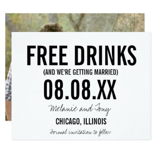 Funny Free Drinks Photo Horizontal Save the Dates Card
