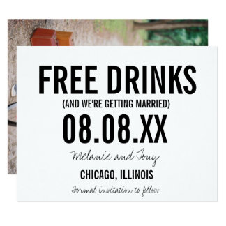 Funny Free Drinks Photo Vertical Save the Dates Card